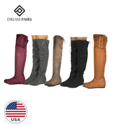 DREAM PAIRS Women#x27;s Over The Knee Thigh High Stretch Suede Autumn Winter Boots $23.39