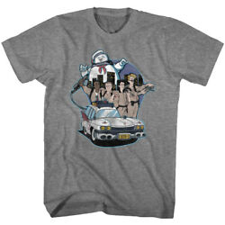 The Real Ghost Busters Cartoon Ecto-1 Cast And Stay Puff Adult T Shirt