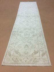 3andrsquo.0andrdquo X 11andrsquo.6andrdquo Muted Beige Oushak Oriental Rug Runner Hand Knotted Wool Hallway