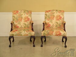L23061e Pair Baker Chippendale Style Mahogany Claw Foot Library Chairs