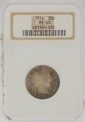 Proof 1914 P Ngc Certified Pr 65 Silver Barber U.s. Quarter 25c Toned Coin