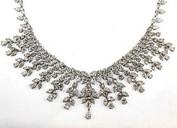 Multi Shape Diamond Graduated Cluster Collar Necklace 18K White Gold 96.74Ct