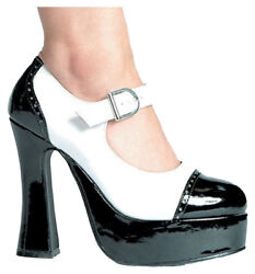 Morris Costumes Women's Gangster High Heel Saddle Shoes Black White 7. HA9BW7