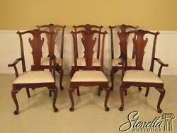 L43074e Set Of 6 Hickory Chair Co. Distressed Mahogany Dining Room Chairs