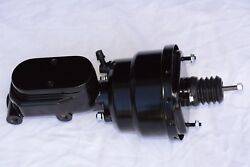 Black 7 Dual Power Brake Booster And Flat Top Master Cylinder Street Rod Gm Chevy