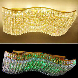 Crystal Ceiling Lamp Wavy Rectangular Dining Room Lamp Led Hanging Line Fixtures