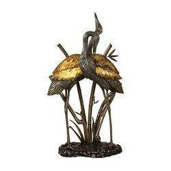 Maitland-smith 8192-17 Brass And Bronze Cranes Lamp Tiger Penshell Inlay New