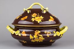 Herend Yellow Queen Victoria On Brown Background Large Soup Tureen 2002/vj-fm