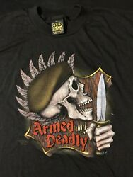 Vintage 80s 1988 3d Emblem Tag Armed Deadly Xl T-shirt Military Army Knife