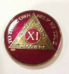 11 Year Aa Sobriety Coin Medallion- Rich Red And Gold Enamel Eleventh Xi Bsp