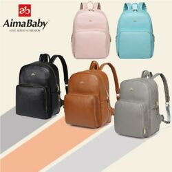 AiMaBaby Mummy Baby Bag Backpack Diaper PU Waterproof Large Multifunction Travel $19.99