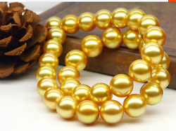 huge supe 14-17mm south sea round gold pearl necklace 18inch