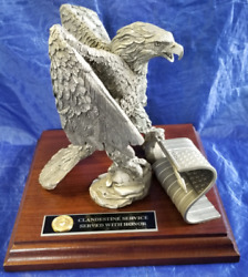 State Dept Issued Cia Statue Service With Honor Eagle W Flag Cast Pewter In Box