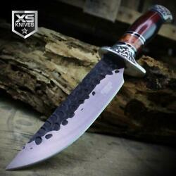 Combat SURVIVAL Hunting Tactical BOWIE Ornate Dark Wood Fixed Blade Knife