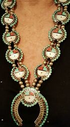 Roger And Lela Cellicion Zuni Squash Blossom Sunface Necklaceandearrings Museum Qlty