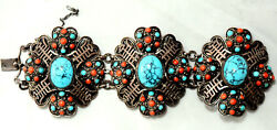 Vintage Chinese Silver, Coral And Turquoise Detailed Bracelet