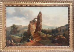 Painting Landscape Shepherd Classic Neo-classical Ruin 19th French