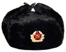 Ushanka Russian Army Military Fur Hat Ussr Soviet Soldier Red Star /eagle Badge