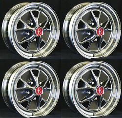 New Mustang Style Styled Steel Gt Wheels 15 X 7 Set Of Complete W/ Caps Nuts