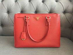 Authentic Prada Red Saffiano Lux Gardener Tote Bag(Like New)