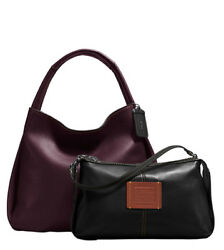 Coach 1941 Hobo Bandit bag purse  oxblood  red  pebbled leather * 2 bags in 1