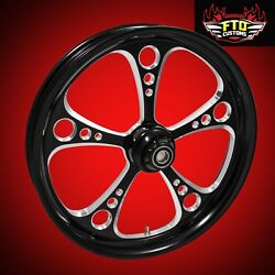 2000-2007 Harley Black Contrast 23 Inch Front Wheel And Floating Rotors 3-shot