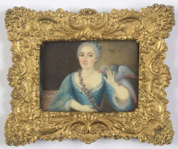 Guillaume-gabriel Bouton Lady With Lapdog And Parrot Rare Miniature 1761