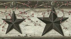 Rustic Barn Star Border PUR44601B wallpaper country gray Easy Walls prepasted