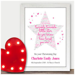 Personalised Christening Day Twinkle Star Loved Gifts Baby Girl Boy Pink Or Blue