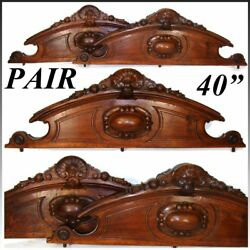 Pair Antique Victorian Carved Walnut 40 Furniture Or Architectural Cornices