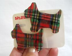 Vintage New 2 Scottie Dog Terrier Hair Barrette Clip Set Retro 70's 80's Nos