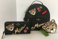 Kate Spade *Authentic* MA Cherie Meow Leopard Backpack Wallet Coin Set NEW NWT