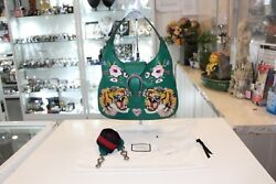 Dionysus Hobo Embroidered Tiger Hand Bag Green Leather Bag - Newandauthentic