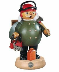 German Incense Smoker Forest Worker With Power Saw, Height 17 Cm .. Mu 16186 New