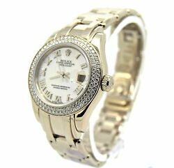Rolex Pearlmaster 80339 Box & Papers. Double Diamond Bezel MOP Dial MINT
