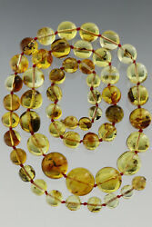 Rounded Beads All With Fossil Insects Genuine Baltic Amber Necklace 56.2g 180510