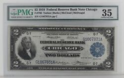 1918 2 Federal Reserve Bank Note Chicago Fr 765 Pmg Choice Very Fine 35