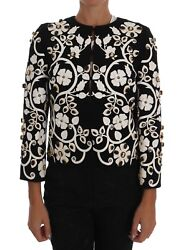 New 7800 Dolce And Gabbana Jacket Black Baroque Floral Crystal Coat It42 /us8 / M