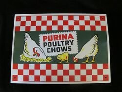 Vintage PURINA Poultry CHOWS Vintage Chicken Metal Farming Checkerboard Sign