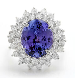 7.30 Ctw Natural Blue Tanzanite And Diamond In 14k Solid White Gold Women Ring