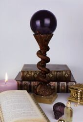 Antique 18th C French Carved Wood Snake Crystal Ball Stand Wicca Candlestick