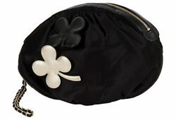 Chanel Black Silk Evening Bag With decorative Leather Clovers