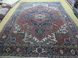 6and0397 X 9and039 Antique Hand Made India Geometric Oriental Wool Rug Organic Red Blue