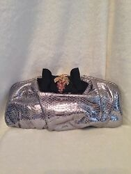 DOLCE & GABBANA Silver Metallic Snakeskin Clutch Handbag Evening Bag Black Bow