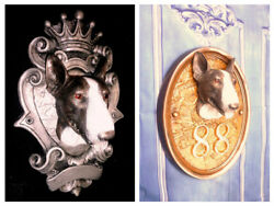 CUSTOMISED KingsiZe English Bull Terrier Hanging Bust STATUE Vivid Art Dog stone