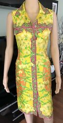 Gianni Versace Vintage Plunged Sexy Dress Sz 40 Iconic Highly Collectible