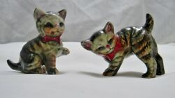 Vintage Playful Ceramic Tabby Cats Kitten Figurines  w Cold Painted Accents