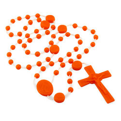 Plastic Rosary Orange Beads Our Lady Of Miracles Miraculous Lot Of 25 Made Italy
