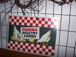 Vintage Purina Poultry Chows Chicken Feed Metal Sign 1950s? Old Farm Advertising