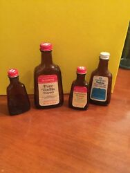 Lot 4 Vintage Schilling Bottles - Butter,unknown And Vanilla W/ 1 Crescent Maple